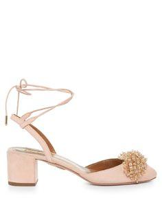 Monaco bead-embellished block-heel suede pumps | Aquazzura | MATCHESFASHION.COM UK