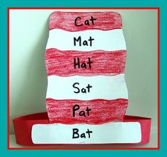 Teaching 3 letter words? Use this cat in the hat craft to teach the 'at' word family.