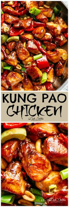 Pao Chicken better than Chinese take out! With crisp-tender chicken pieces and some crunchy veggies thrown in, this is one Kung Pao chicken recipe hard to pass up! Easy Chicken Recipes, Asian Recipes, Healthy Recipes, Chinese Recipes, Chinese Food Recipes Chicken, Chicken Pieces Recipes, Chicken Stirfry Recipes, Chicken Meals, Kung Pao Chicken