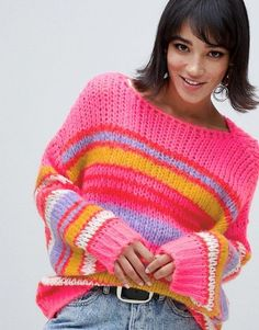 Shop Stradivarius stripe jumper in multi. With a variety of delivery, payment and return options available, shopping with ASOS is easy and secure. Shop with ASOS today. Sweater Dress Outfit, Sweater Outfits, Crochet Jumper, Knit Crochet, Asos, Cool Sweaters, Knit Fashion, Ladies Dress Design, Knit Patterns