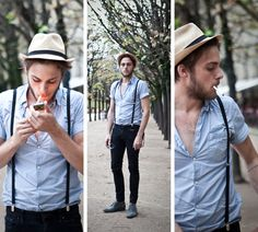 hat & suspenders Mens Fashion, Fashion Outfits, Outfit Trends, Panama Hat, Mens Clothing Styles, Fur, Male Fashion, Man Fashion, Fashion Suits