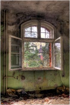 window in an abandoned house