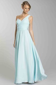 Caitlin-2014 Sexy One Shoulder Pleated Bodice With Flowing Chiffon Skirt USD 113.99 BPPA7DRY4F - BrandPromDresses.com
