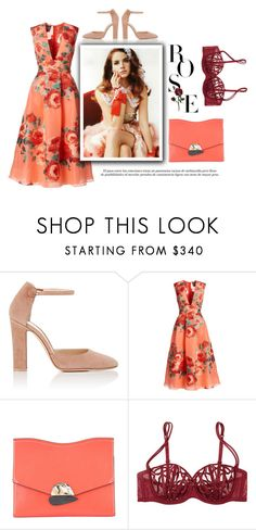 """""""Rose"""" by little-vogue ❤ liked on Polyvore featuring Gianvito Rossi, Lela Rose, Proenza Schouler, La Perla, orange, rose and polyvorefashion"""