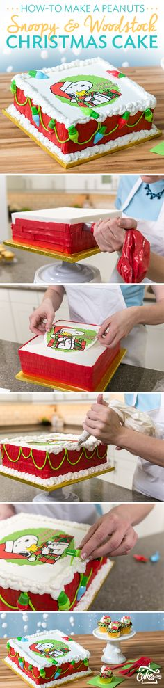 Don't get stuck in the doghouse this year be sure to impress your guests with a Peanuts Snoopy and Woodstock Christmas Cake.