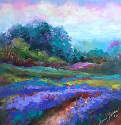 """Daily+Paintworks+-+""""Painting+in+Provence+-+Cotton+Candy+Skies+and+Lavender+-+Nancy+Medina+Art""""+-+Original+Fine+Art+for+Sale+-+©+Nancy+Medina"""