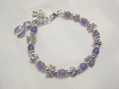 Lavender awareness bracelet with butterflies!!!!