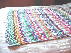 Hand Knit Afghan seller florasgarden Zig Zag Lap Blanket 35 x 40 inch Throw Multi Colored