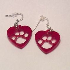 Boutique Jewelry - Red Pawprint Laser Cut Earrings