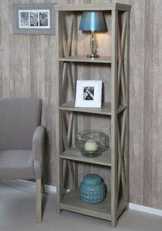 Vintage Sand Mango Wood Criss Cross 4 Shelf Unit #Furniture #Shelving