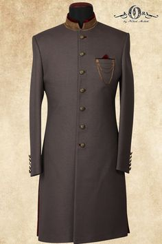 Grey & Maroon Jute Zardosi Embroidered IndoWestarn Sherwani-IW857 #Menssuits Indian Wedding Suits Men, Sherwani For Men Wedding, Indian Groom Wear, Wedding Dress Men, Blue Sherwani, Sherwani Groom, Mens Sherwani, African Wear Styles For Men, African Clothing For Men