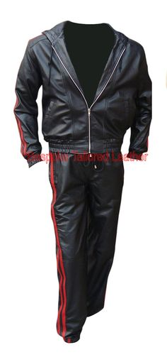 Real Leather Track Suit with Hood in Black with 2 White Stripes with Lace at the Bottom in White ( Made to Order) Jacket comes with 2 outside and 2 inside pocket. Full Front zip in silver (can be made in Brass, Black or White). Cuffs with elastic or can be kept plain or with laces or with zipper. Track Suit bottom with two front side pockets. Waist with Lace and Elastic With Normal Bottom, but can be made plain or with elastic, As all our products are made to order, we can accommodate slight…