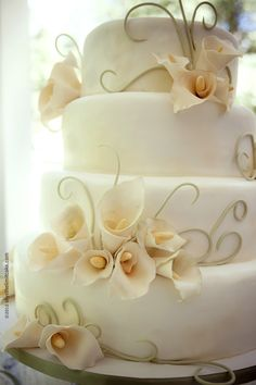 Modern yet classic wedding cake with Gumpaste Calla Lillies & Tendrils    http://www.skysthelimitcake.com/    Photography: http://authenticexposure.com/