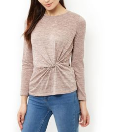 Mid Pink Fine Knit Twist Front Long Sleeve Top | New Look