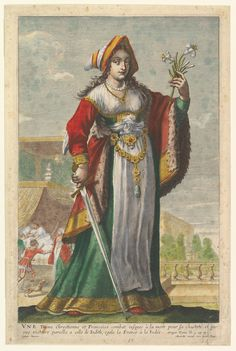 French Judith, an illustration from Pierre Le Moyne's 'La Gallerie des femmes fortes'. Artist:    Abraham Bosse (French, Tours 1602/1604–1676 Paris). Artist: Gilles Rousselet (French, Paris 1614–1686 Paris).  Artist:  After Claude Vignon (French, Tours 1593–1670 Paris).  Publisher:     Pierre Mariette le fils (French, 1634–1716).  Date:     1647. Medium:     Etching and engraving with watercolor and gold paint, painted by hand.  Dimensions:     Sheet: 6.3 × 24 cm, Plate 34.6 × 22 cm. The…
