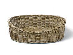 Oval Rattan Dog Baskets - Greywash from Charley Chau - Luxury Dog Beds