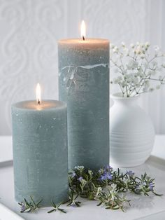 Hailing from Denmark, these beautifully rustic, solid coloured Moss Green pillar candles are set to become a firm favourite. Fancy Candles, Romantic Candles, Beautiful Candles, Diy Candles, Scented Candles, Pillar Candles, Cactus Candles, Chandeliers, Handmade Soaps