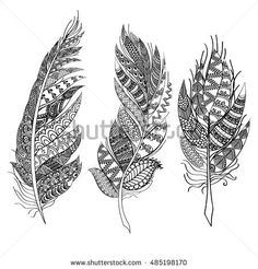 Ethnic feathers. Tribal Feathers Vintage Pattern. Hand Drawn Doodles illustration
