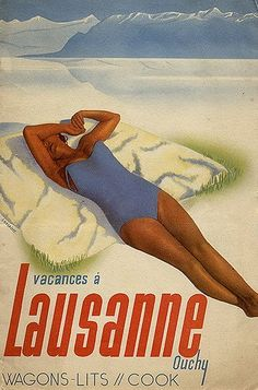 Vintage travel poster in French with sunbather by mountains.  Lausanne, Switzerland.  Wagons-Lits (translation: sleeping cars).