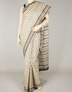 Hand Block Print Mulmul Cotton Saree without Blouse-1258