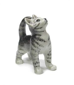 CAT Grey Tiger Looks Up MINIATURE Porcelain Figurine NORTHERN ROSE R314F  $9.99