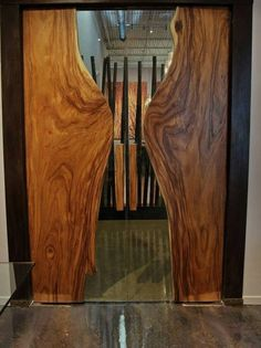 natural edge wood and glass doors