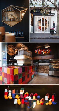 Little Nuffield Cafe is a coffee bar and lunchbox shop tucked into a small storefront in Auckland, NZ. The budget was modest, so the designers had to come up with inexpensive but impactful decor ideas. Recycled wood crates were used for shelving and joinery; the plumbing was painted with copper paint to create the illusion of aged piping; and the colorful signage is a laser-cut polystyrene sign wrapped with wool yarn.