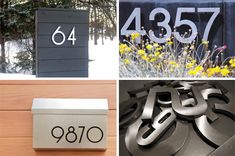 Great house numbers are incredibly sexy. Style At Home, Midcentury House Numbers, Modern Mailbox, Craftsman Exterior, Living Room Lounge, Facade House, Mid Century House, Door Numbers, Address Numbers