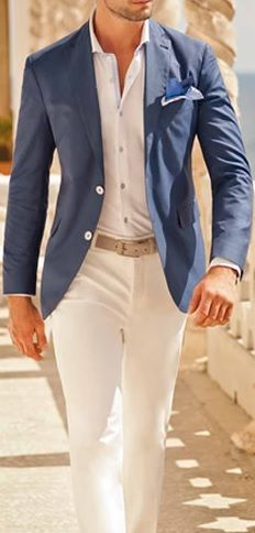 Blue Blazer . White Shirt . Beige Belt . White Chinos