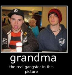Photo bombing grandma style