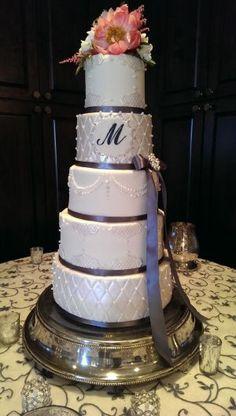 Delicious 5-tier wedding Cake for a wedding at Todd Creek Golf Club in Thornton, Colorado.
