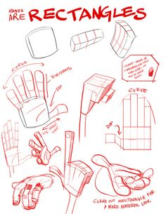 rectangular, flat, slightly flexible box. Even the fingers are rectangles #drawing #cartooning #sketching