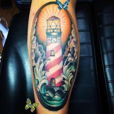 The 85 Best Leg Tattoos for Men | Improb colored lighthouse leg tattoo for men<br> Check out these best leg tattoos for men, which highlights the flexibility of the leg when it comes to accommodating tattoo designs of every shape and size. Best Leg Tattoos, Leg Tattoos Women, Sexy Tattoos, Tattoos For Guys, Tatoos, Small Tattoos With Meaning, Cute Small Tattoos, Tattoos For Women Small, Unique Tattoos