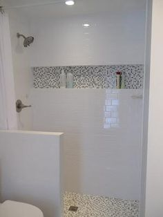 Shower Shelfu2026best Idea Ever. Helen Note: Interesting Shower Design With  Inlaid Shelf Detail Echoing The Floor. Low Wall On Outside/curtain Shower  Shelfu2026best ...
