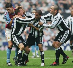 Lee Bowyer and Kieron Dyer of Newcastle--- come to blows during the FA Barclays Premiership match between Newcastle United and Aston Villa at St James Park on April, 2005