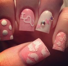 Beautiful nail art designs that are just too cute to resist. It's time to try out something new with your nail art. Gorgeous Nails, Love Nails, Pink Nails, Pretty Nails, White Nails, Sassy Nails, Red Nail, Fabulous Nails, Nail Art Designs 2016
