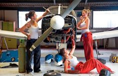 In LA, even airplane mechanics are hoping to get discovered.  It was all fun and games until their makeup got smeared.