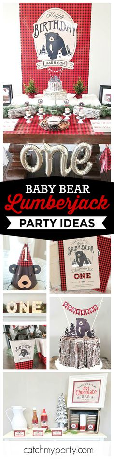 Don't miss this adorable Baby Bear Lumberjack 1st birthday party! The dessert table and decorations are great!! See more party ideas and share yours at CatchMyParty.com