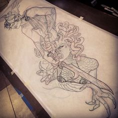 this a drawing of perseus killing medusa Tattoo Outline Drawing, Tattoo Design Drawings, Outline Drawings, Tattoo Sketches, Tattoo Designs, Medusa Tattoo, Baby Tattoos, Tattoos For Guys, Tattoo Ideas