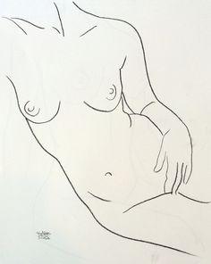 Ligne de charbon de bois minimale Contour dessin de nu féminin se prélasser 11 dans x 14 en