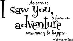 As soon as I saw you, I knew an adventure was going to happen -- Winnie the Pooh
