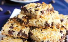 Layers of graham crackers, walnuts, chocolate chips, and shredded coconut make these bars one of our favorite desserts.