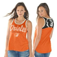 Baltimore Orioles National Title Tank Top by GIII.  This top has a distressed screen print design on the front.  The back has a contrast color panel with a distressed team logo.  100% cotton.  Perfect for a mid summer afternoon at the ballpark.