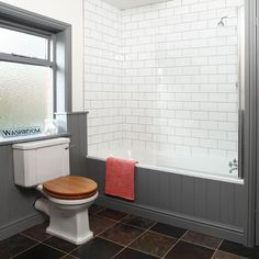 A way to fit paneling into bath panel and walling as well. Gray And White Bathroom, White Bathroom Tiles, Downstairs Bathroom, Grey Bathrooms, Beautiful Bathrooms, Small Bathroom, Grey And White, Bathroom Ideas, White Brick Tiles