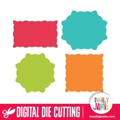 Get these assorted scalloped labels, they are perfect for use for making cards or invitations, or for your scrapbooking or crafting projects. Digital die cutting files are designed specifically with cutting machines in mind. Use them with programs such as your Silhouette, Cricut (SCAL/MTC), Pazzles, Klick-n-Kut, Wishblade or any cutting machine that can use the following file formats: SVG, PDF, and DXF.