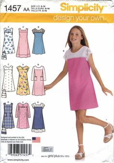 Simplicity 1457 Girls'/Girls' Design Your own Pullover Jumper or Dress in Two Lengths