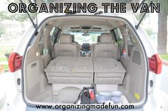 don't have a van (yet), but a lot of tips from this organizing guide could help the Boyfriend and his car :)