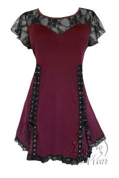 31cb0f5e08200 Gothic ROXANNE Stretch Corset Style Top BURGUNDY RED