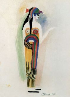Costume for 'Cléopâtre' in the Ballets Russes production of 'Cléopâtre' (Cleopatra). Sonia Delaunay (French, Paris, Designed for ballerina Luba Tchernicheva. Delaunay used arcs, circles and spheres to the body and parallel lines and. Sonia Delaunay, Robert Delaunay, Piet Mondrian, Klimt, Matisse, Ballet Russe, Russian Ballet, Art Abstrait, Pattern Illustration