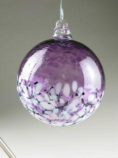 blown glass ornament ball - deep purple blossom - suncatcher